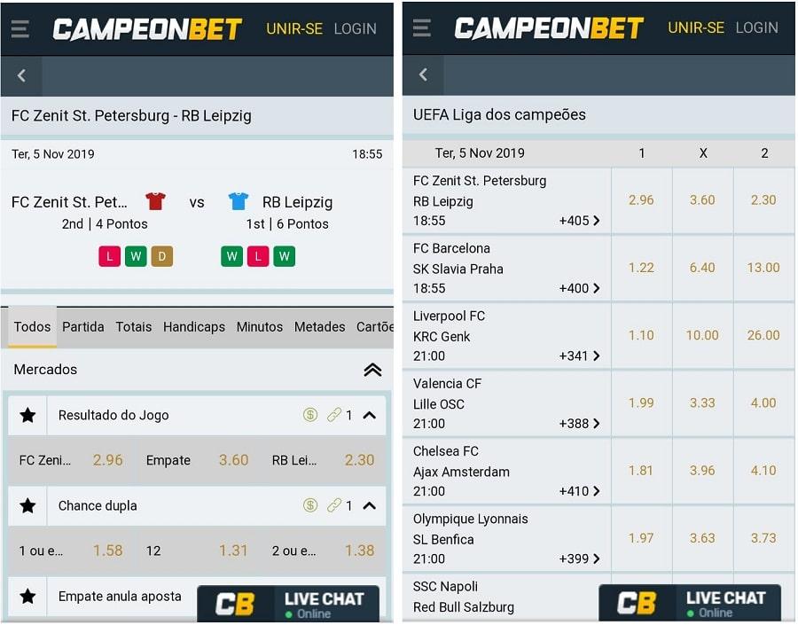 telas de aposta do Campeonbet no celular