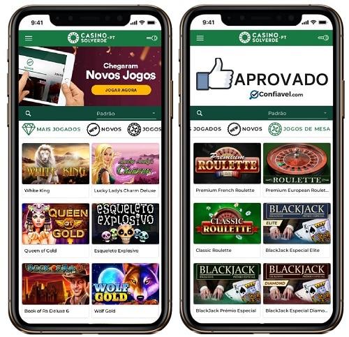 interface do Casino Solverde no celular