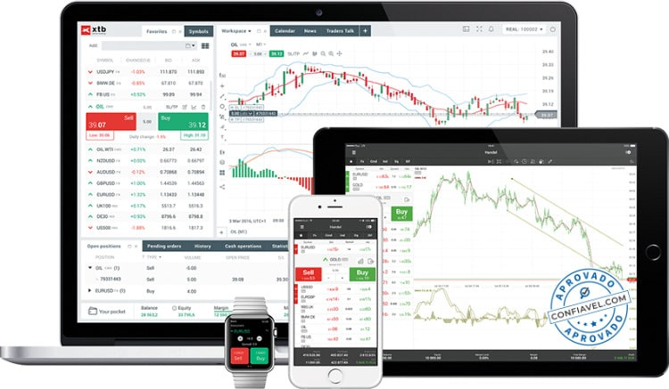 tela mostrando interface XTB Forex