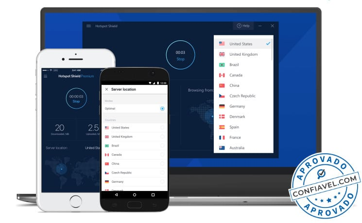 diversos aparelhos com software do hotspot shield