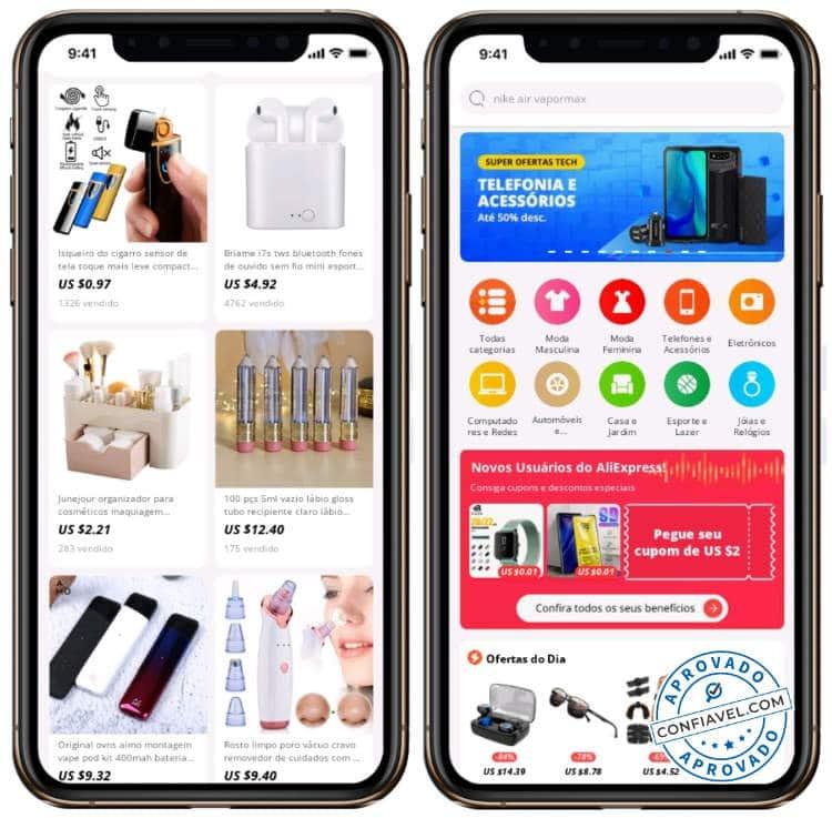 telas de compras do aliexpress no celular