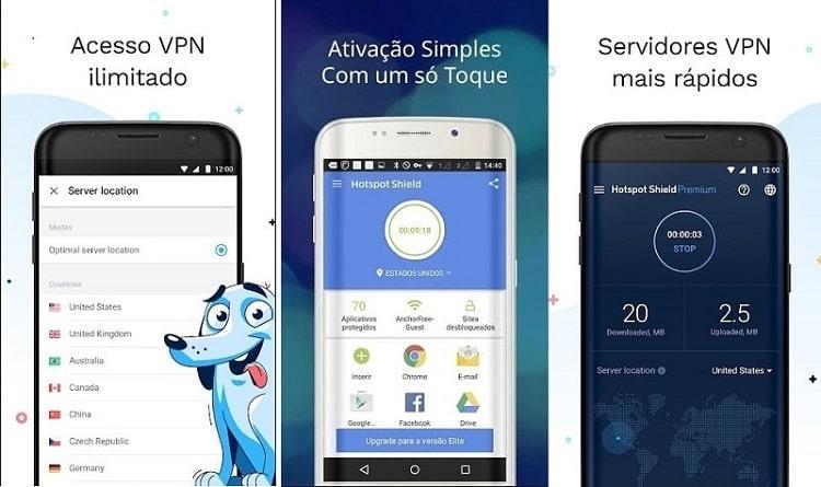 telas de smartphone do app hotspot
