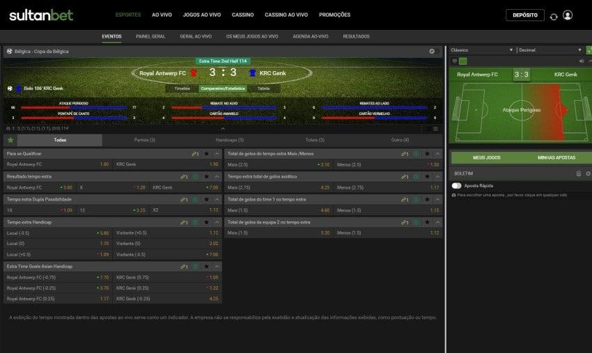 Tela de apostas em futebol no Sultanbet Brasil