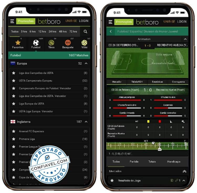 captura de tela no celular do site betboro