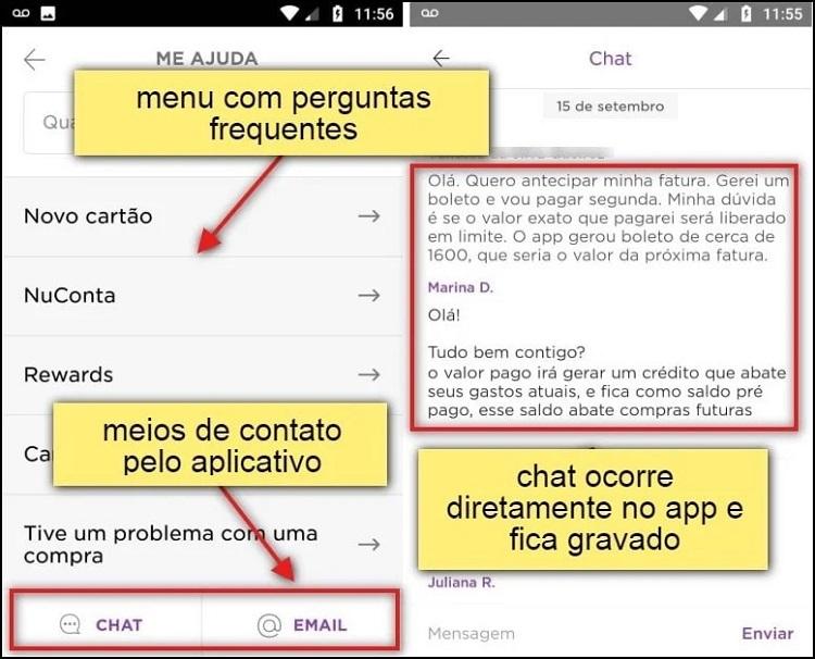 tela de atendimento via chat nubank