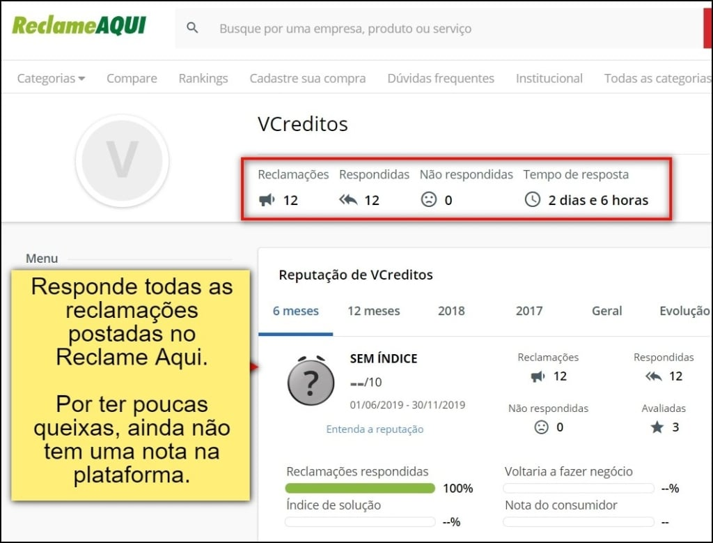 VCreditos também utiliza uma das principais plataformas de conciliação para responder usuários