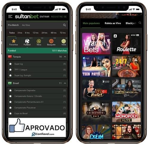 interface do Sultanbet apostas e cassino no celular