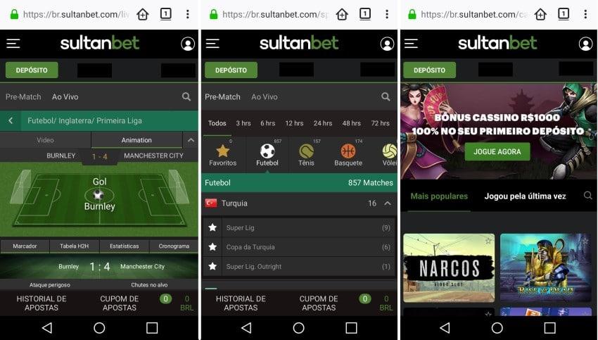interface do Sultanbet em apostas no celular