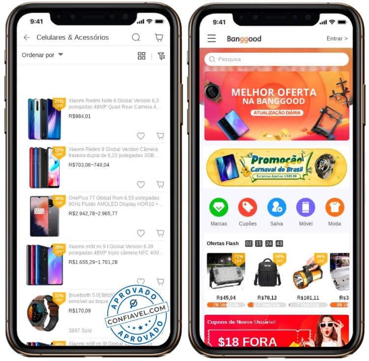 telas de compras do banggood no celular