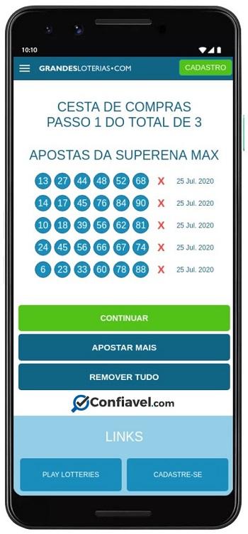 O Grandes Loterias não possui um app, apenas site responsivo.