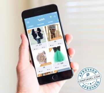 usuário fazendo compras no wish pelo celular