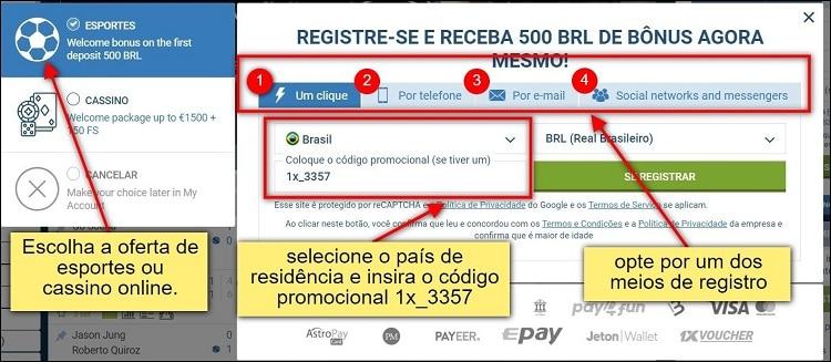 tela de registro do 1xbet com instruções de cadastro