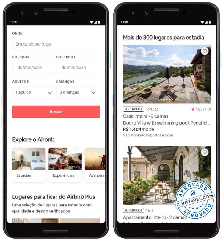 interface de busca do airbnb
