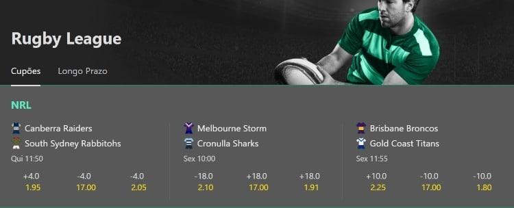 tela de apostas da NRL