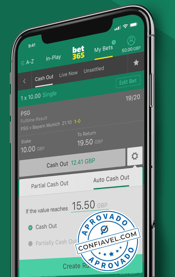 interface de cash out do bet365