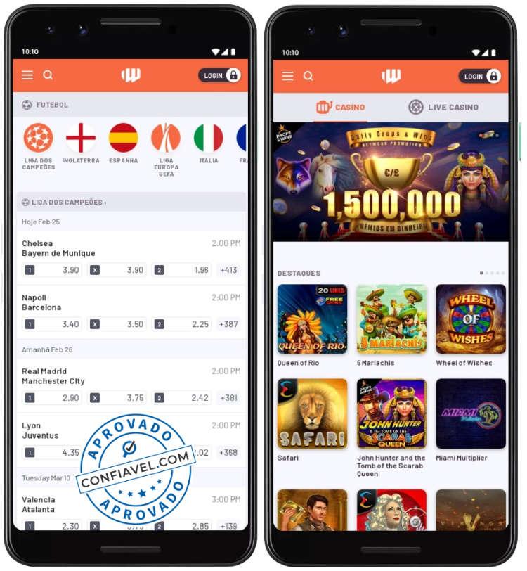 layout no BetWarrior apostas e cassino no celular
