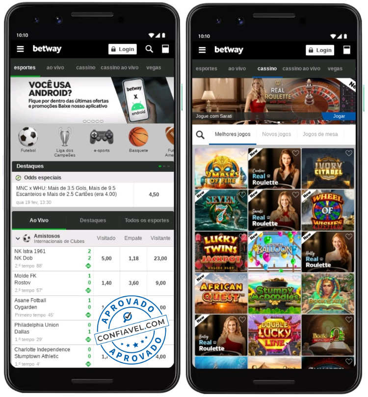 interface do betway no smartphone