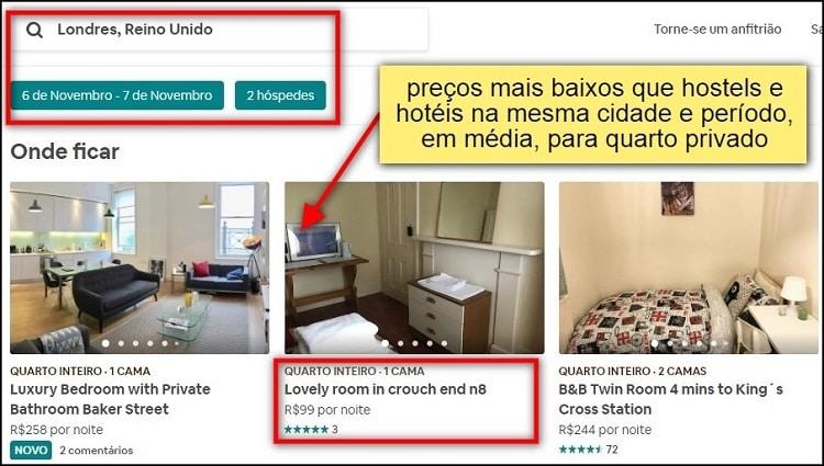 tela de pesquisa do aplicativo airbnb