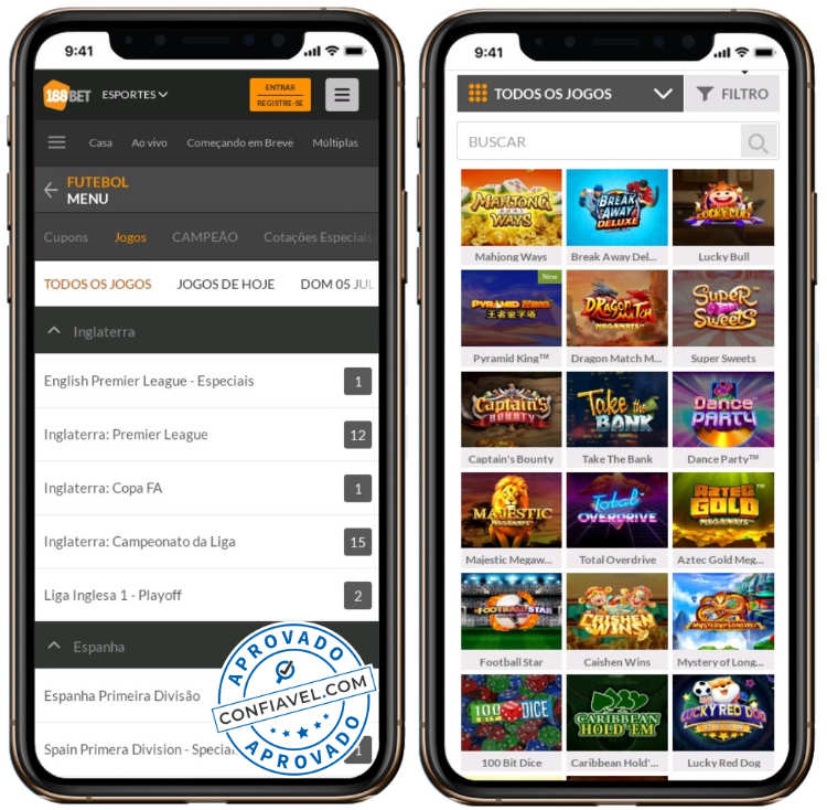 tela de iphone exibindo o site 188bet
