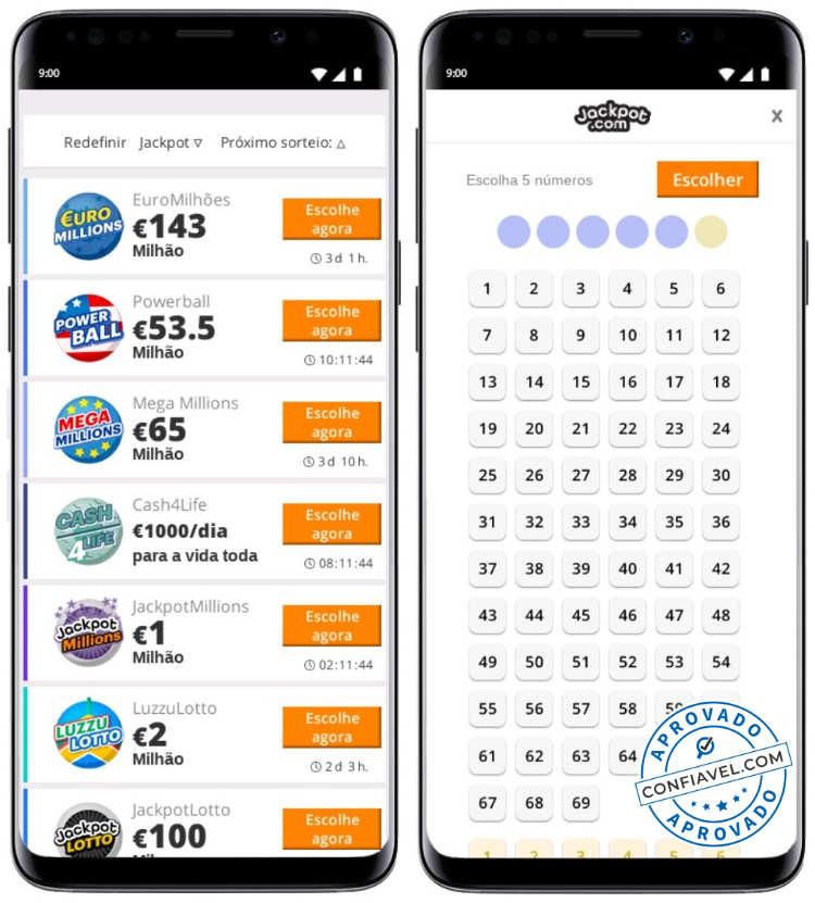 tela de aposta do jackpot loteria no celular