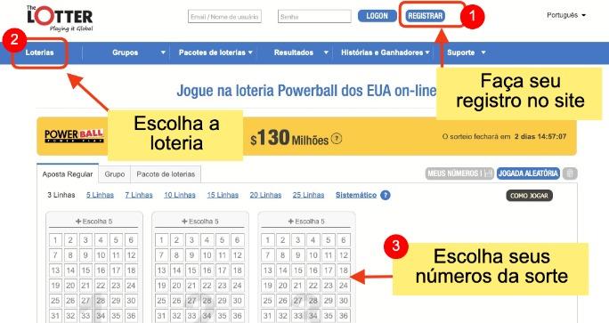 exemplo de como jogar na loteria online