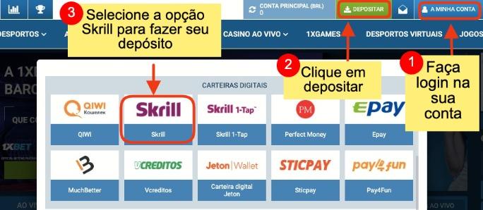 como usar Skrill em sites de apostas e cassinos