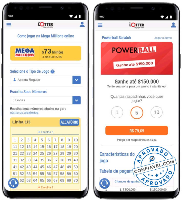 telas do site thelotter no smartphone