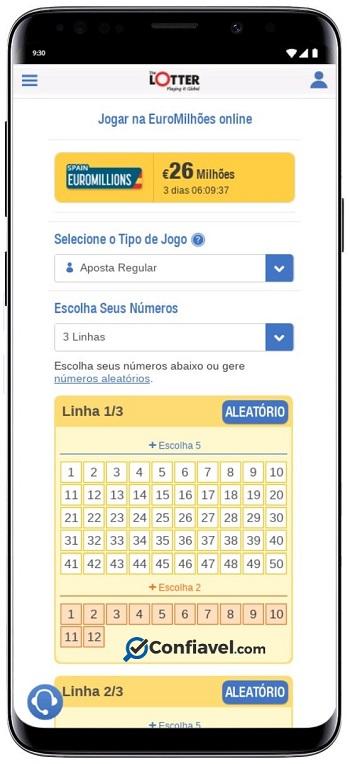 site de loteria thelotter no celular