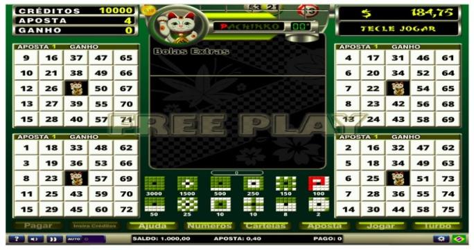 tela com o jogo Pachinko