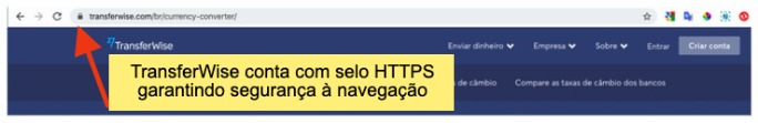 site transferwise tem navegação segura