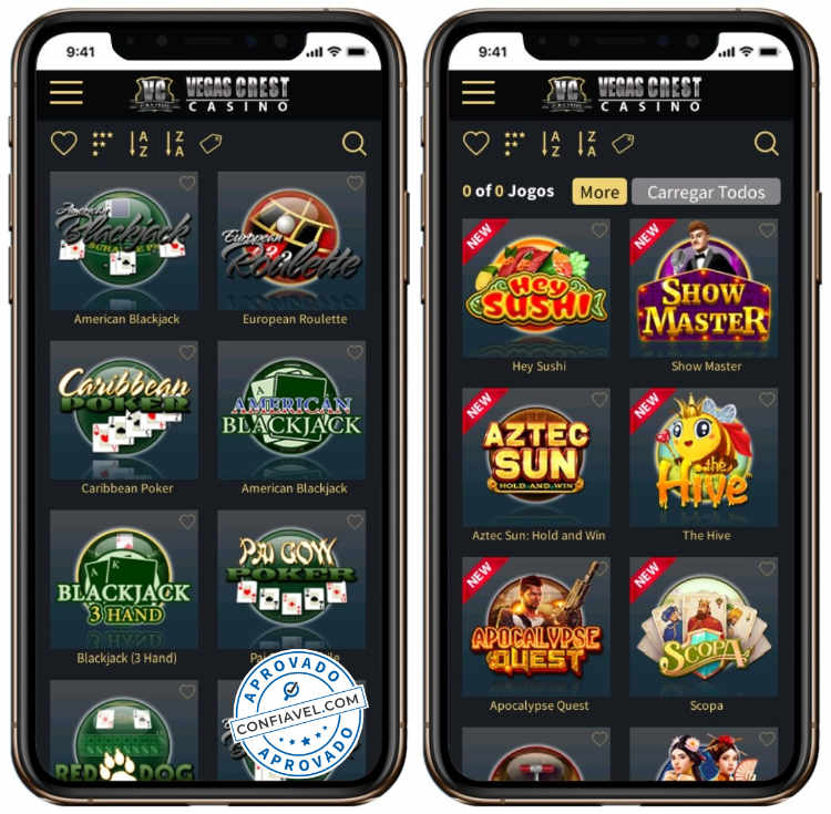 tela de jogos do Vegas Crest no smartphone