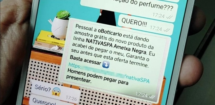 tela do whatsapp com mensagem de promoção falsa