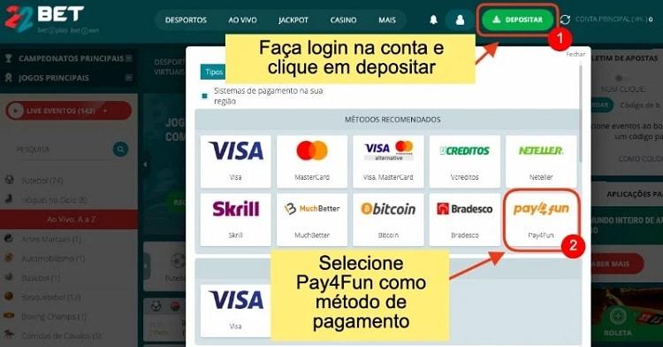 tela com procedimento de depósito no 22bet com Pay4Fun