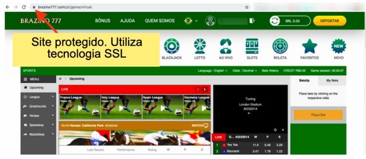 site Brazino777 utiliza tecnologia SSL