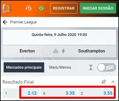 odds do Betano em jogo da Premier League