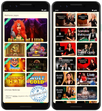 Telas do YoYoCasino no mobile