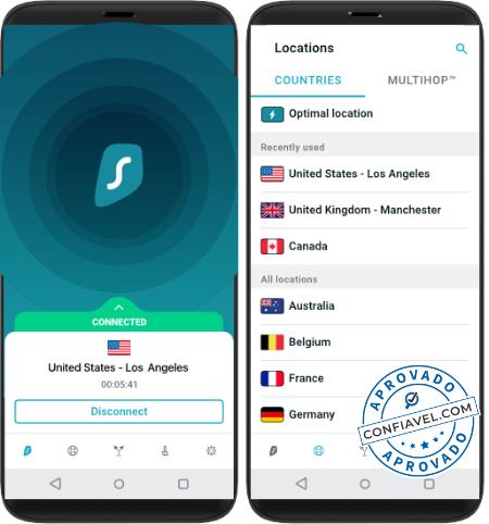 tela do app da surfshark