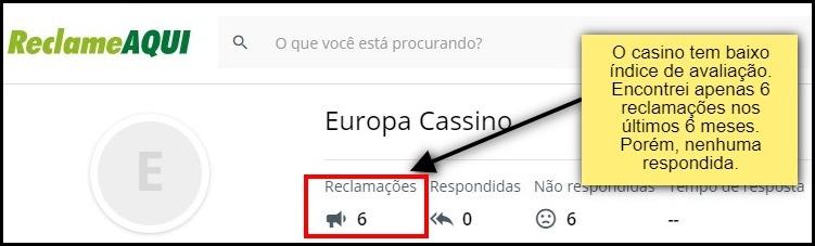 avaliação externa sobre o europa casino