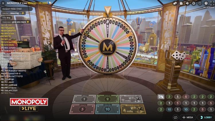jogo Monopoly em cassino ao vivo com dealer