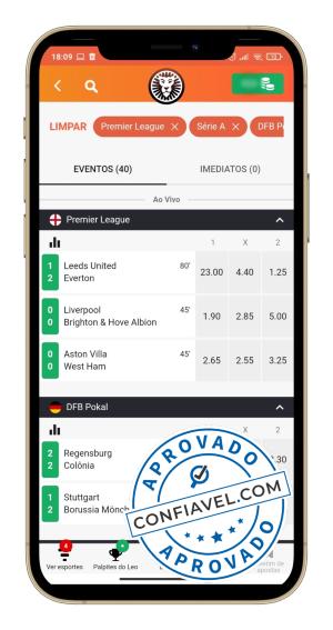 filtros para evento no app leovegas