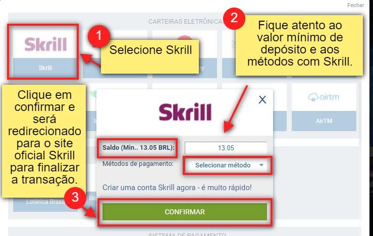 como depositar com Skrill