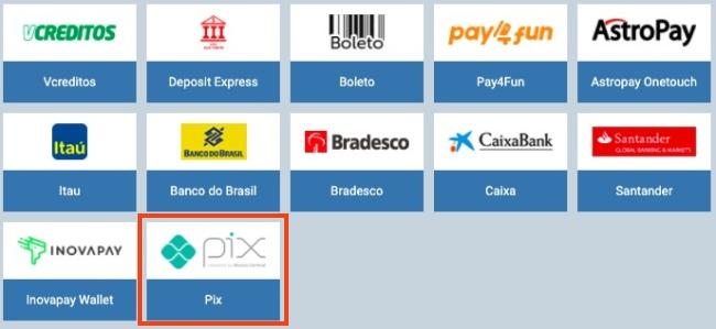selecionar pagamento com Pix