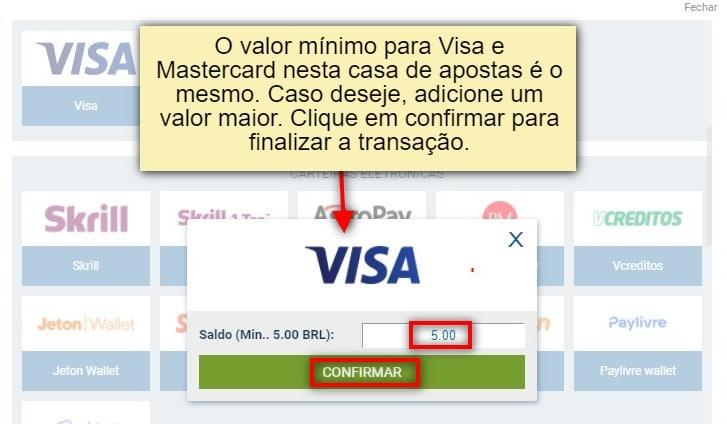 depósito visa com cartão de crédito