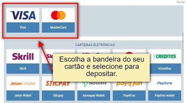 como depositar com cartão de crédito visa e mastercard