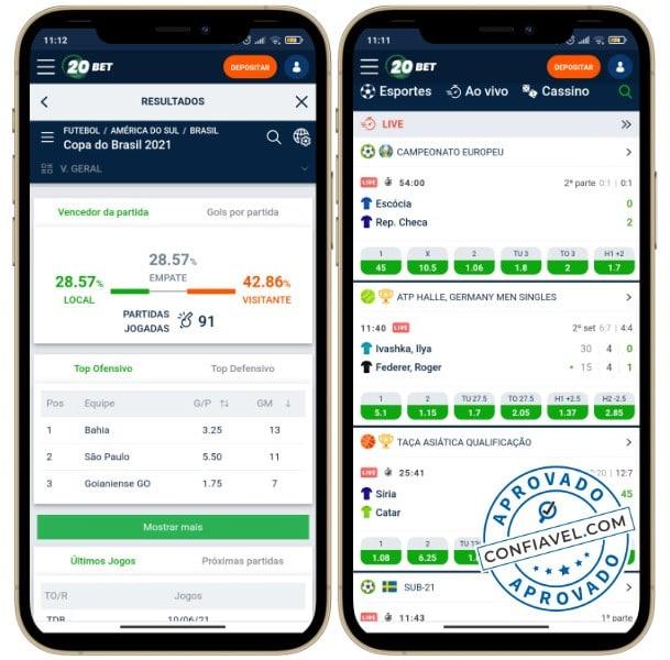interface do 20bet mobile